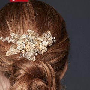 Organza & Crystal Floral Hair Clip - NWT